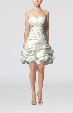 White Cute Hall A-line Sleeveless Taffeta Short Pick up Bridal Gowns