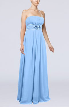 Light Blue Plain Sleeveless Zip up Chiffon Floor Length Flower Evening Dresses