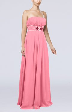 Pink Plain Sleeveless Zip up Chiffon Floor Length Flower Evening Dresses