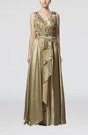 Luxury V-neck Zipper Elastic Woven Satin Floor Length Prom Dresses