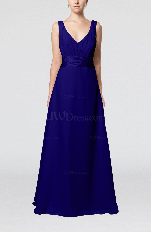 Electric Blue Wedding Guest Dresses : Blue plain v neck sleeveless zip up chiffon floor length wedding guest