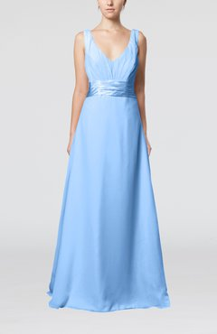 Light Blue Plain V-neck Sleeveless Zip up Chiffon Floor Length Wedding Guest Dresses