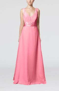 Pink Plain V-neck Sleeveless Zip up Chiffon Floor Length Wedding Guest Dresses