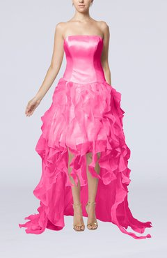 Pink Modern Strapless Sleeveless Backless Organza Evening Dresses