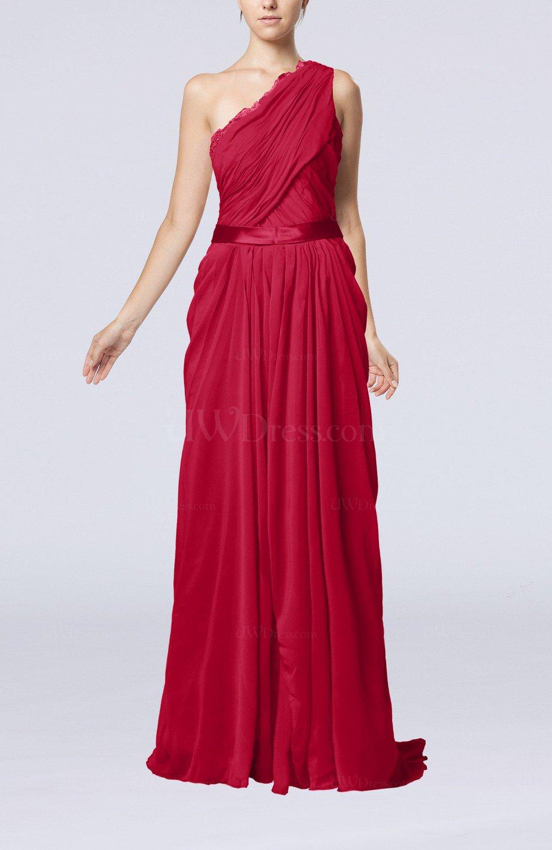 Dark Red Elegant Sheath One Shoulder Zipper Chiffon Ribbon