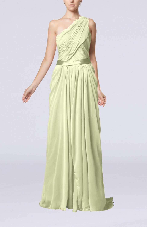 Ivory elegant sheath one shoulder zipper chiffon ribbon for Elegant guest wedding dresses