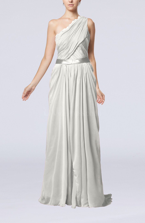 Off white elegant sheath one shoulder zipper chiffon for White dresses for wedding guests