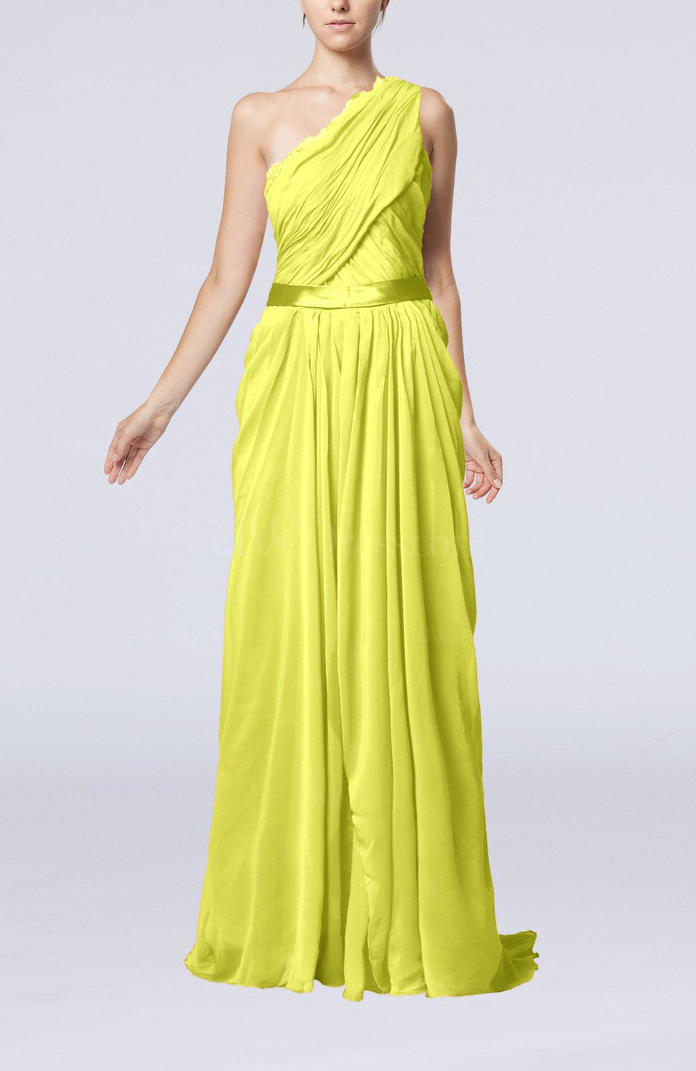 Pale yellow elegant sheath one shoulder zipper chiffon for Yellow dresses for wedding guests