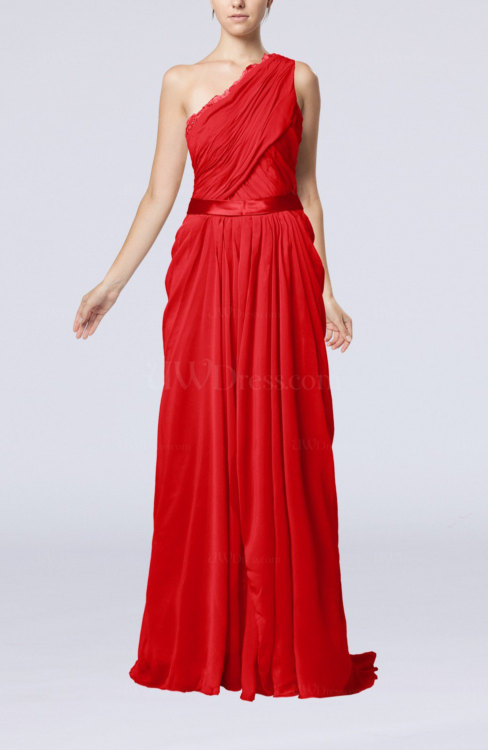Red elegant sheath one shoulder zipper chiffon ribbon for One shoulder dress for wedding guest
