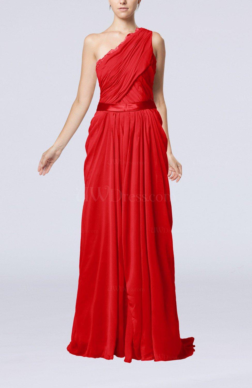 Red elegant sheath one shoulder zipper chiffon ribbon for Red wedding guest dresses