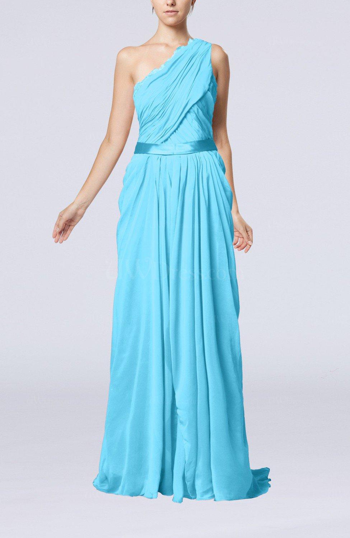 Turquoise elegant sheath one shoulder zipper chiffon for Turquoise wedding guest dress