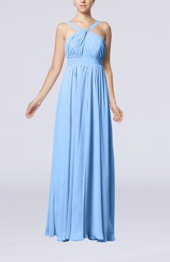 Light Blue Simple V-neck Sleeveless Chiffon Floor Length Party Dresses