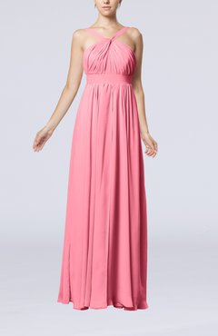 Pink Simple V-neck Sleeveless Chiffon Floor Length Party Dresses