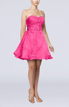 Pink Modern Baby Doll Sweetheart Backless Short Homecoming Dresses