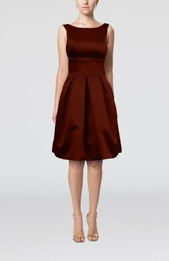 Burgundy Plain A-line Sleeveless Knee Length Sash Bridesmaid Dresses