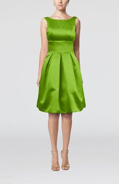 clover plain a line sleeveless knee length sash bridesmaid dresses - Clover Color