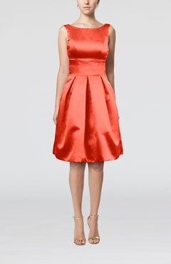 Coral Plain A-line Sleeveless Knee Length Sash Bridesmaid Dresses