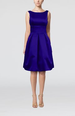 Electric Blue Plain A-line Sleeveless Knee Length Sash Bridesmaid Dresses
