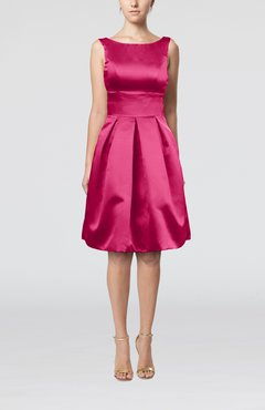 Hot Pink Plain A-line Sleeveless Knee Length Sash Bridesmaid Dresses