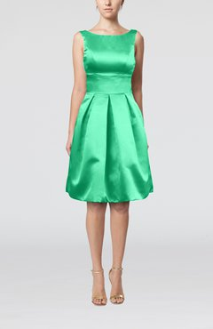 Mint Green Plain A-line Sleeveless Knee Length Sash Bridesmaid Dresses