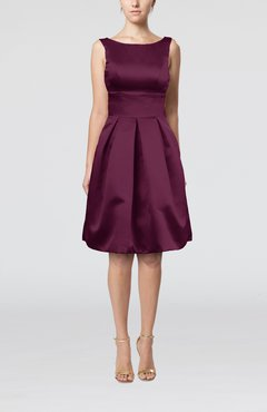 Plum Plain A-line Sleeveless Knee Length Sash Bridesmaid Dresses