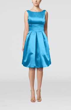 Turquoise Plain A-line Sleeveless Knee Length Sash Bridesmaid Dresses