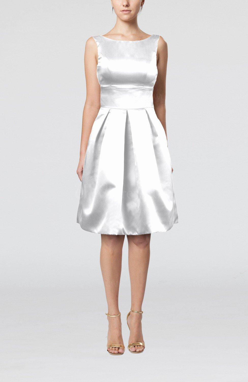 White Plain A Line Sleeveless Knee Length Sash Bridesmaid