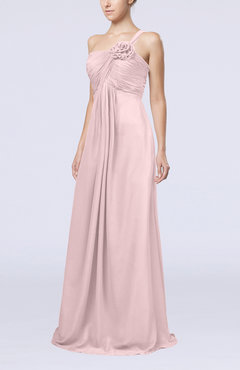 Blush Simple One Shoulder Sleeveless Zipper Chiffon Pleated Mother of the Bride Dresses