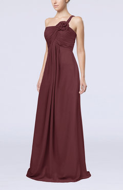 Burgundy Simple One Shoulder Sleeveless Zipper Chiffon Pleated Mother of the Bride Dresses