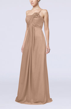 Burnt Orange Simple One Shoulder Sleeveless Zipper Chiffon Pleated Mother of the Bride Dresses