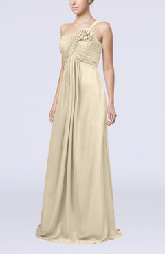 Champagne Simple One Shoulder Sleeveless Zipper Chiffon Pleated Mother of the Bride Dresses