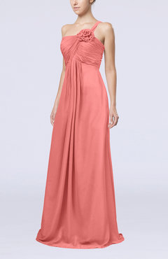 Coral Simple One Shoulder Sleeveless Zipper Chiffon Pleated Mother of the Bride Dresses