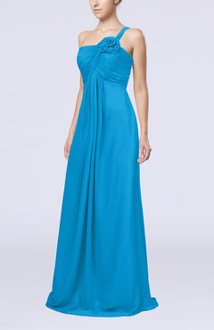 Cornflower Blue Simple One Shoulder Sleeveless Zipper Chiffon Pleated Mother of the Bride Dresses
