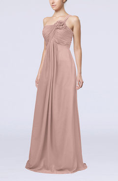 Dusty Rose Simple One Shoulder Sleeveless Zipper Chiffon Pleated Mother Of The Bride Dresses