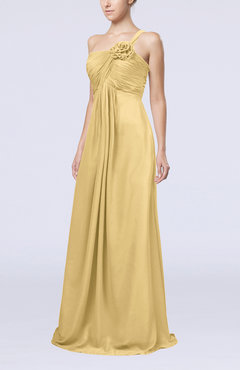 Gold Simple One Shoulder Sleeveless Zipper Chiffon Pleated Mother of the Bride Dresses