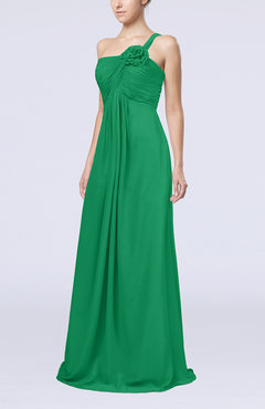 Green Simple One Shoulder Sleeveless Zipper Chiffon Pleated Mother of the Bride Dresses