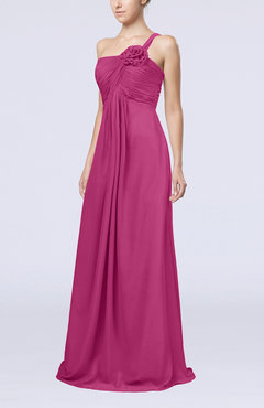 Hot Pink Simple One Shoulder Sleeveless Zipper Chiffon Pleated Mother of the Bride Dresses