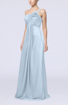 Ice Blue Simple One Shoulder Sleeveless Zipper Chiffon Pleated Mother of the Bride Dresses