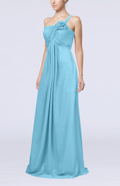 Light Blue Simple One Shoulder Sleeveless Zipper Chiffon Pleated Mother of the Bride Dresses