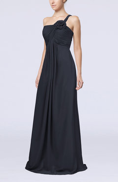 Navy Blue Simple One Shoulder Sleeveless Zipper Chiffon Pleated Mother of the Bride Dresses