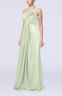 Pale Green Simple One Shoulder Sleeveless Zipper Chiffon Pleated Mother of the Bride Dresses