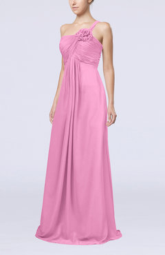 Pink Simple One Shoulder Sleeveless Zipper Chiffon Pleated Mother of the Bride Dresses