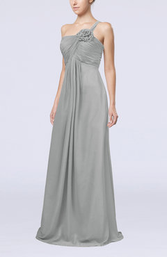 Platinum Simple One Shoulder Sleeveless Zipper Chiffon Pleated Mother of the Bride Dresses