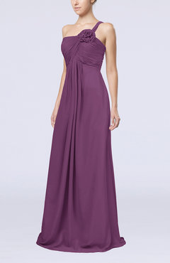 Raspberry Simple One Shoulder Sleeveless Zipper Chiffon Pleated Mother of the Bride Dresses