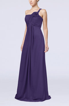 Royal Purple Simple One Shoulder Sleeveless Zipper Chiffon Pleated Mother of the Bride Dresses