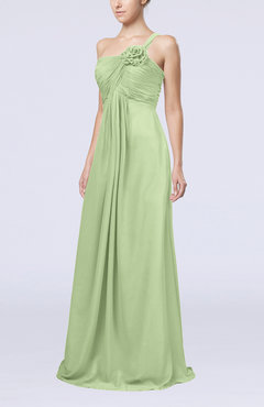 Sage Green Simple One Shoulder Sleeveless Zipper Chiffon Pleated Mother of the Bride Dresses