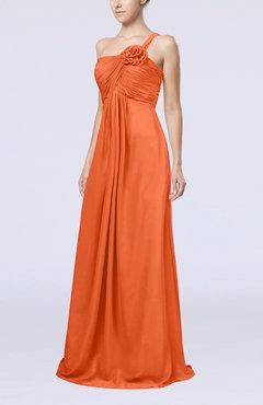 Tangerine Color Bridesmaid Dresses One Shoulder - UWDress.com