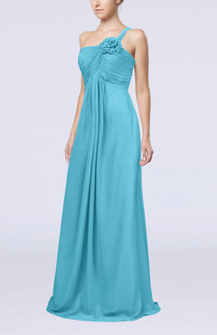 Turquoise Simple One Shoulder Sleeveless Zipper Chiffon Pleated Mother of the Bride Dresses