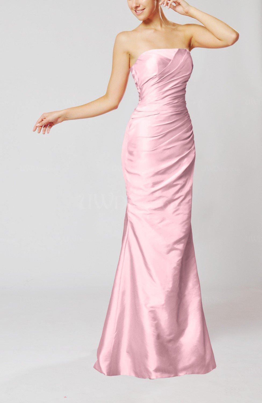 Baby Pink Elegant Church Mermaid Strapless Sleeveless Zipper Ruching ...