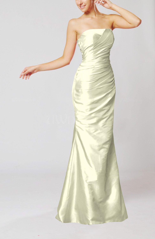 Cream Elegant Church Mermaid Strapless Sleeveless Zipper Ruching Bridal Gowns